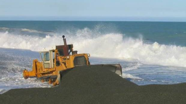 Te Waihora/Lake Ellesmere being opened in rough seas in 2014.