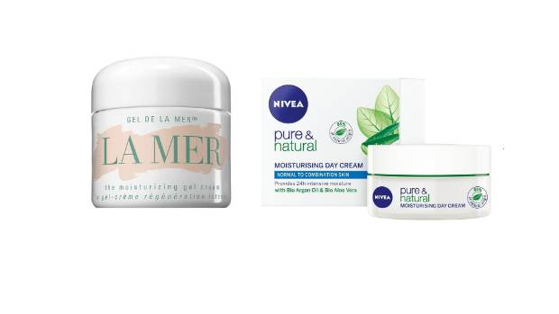 La Mer the Moisturising Gel Cream, $520, and Nivea Pure & Natural Moisturising Day Cream Normal/Combination, $12.99.