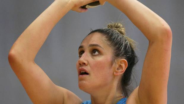 Silver Ferns netball player Te Paea Selby-Rickit shoots during training before the Constellation Cup test in Invercargill.