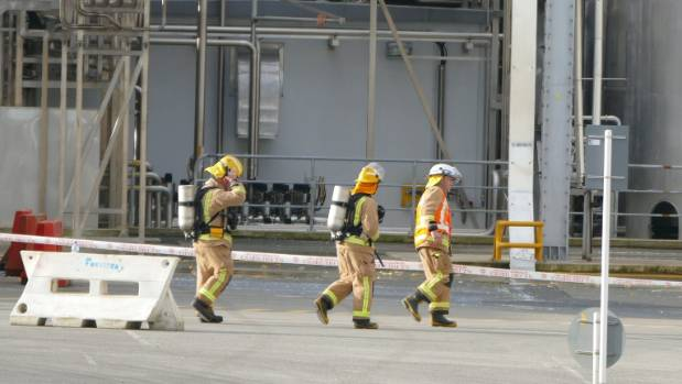 Emergency crew in breathing gear at the Edendale factory where a silo made by Mercer collapsed in September.