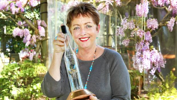 Hunter's Wines managing director Jane Hunter with the Wolf Blass AM Award trophy she won for her contribution to riesling.