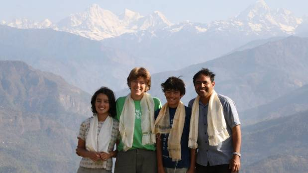 The family in Nepal, where their charity First Steps Himalaya helps provide for rural classrooms.