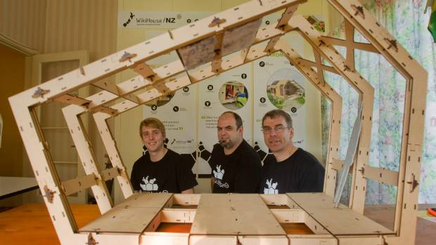Early concept of a Wikihouse with Clayton Prest, left, Danny Squires, and Martin Luff.