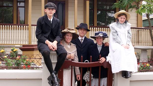 The Feyen family in their Pioneer House garb. From left, Stefan, Janice, Michael, Annika and Jessie.