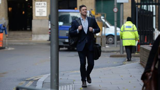 Chris Cairns arrives at court during his trial.