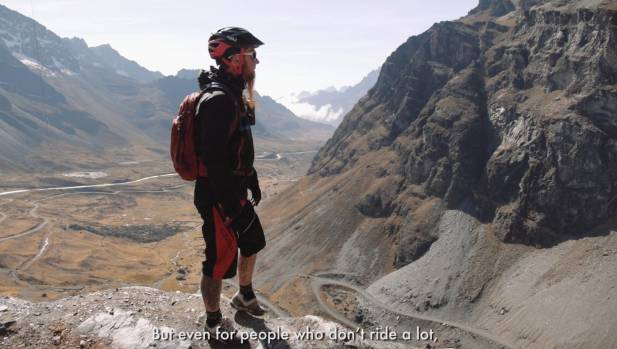 Alistair Matthew on the Bolivian death road.