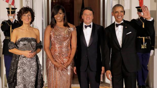 President Barack Obama and first lady Michelle Obama welcome Italian Prime Minister Matteo Renzi and his wife Agnese ...