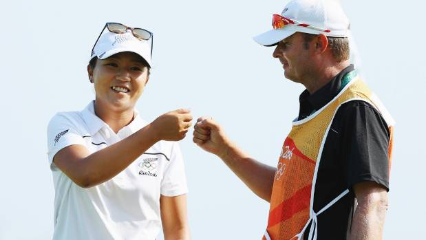 Lydia Ko and former caddie Jason Hamilton, pictured in happier times at the Rio Olympics in 2016.