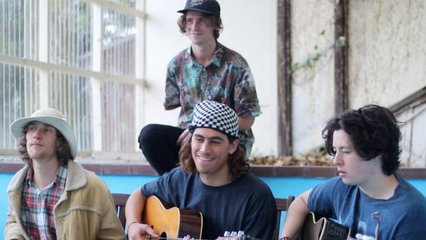 Dunedin based band Gromz are on top of global charts on Spotify. Band members from left to right Queenstown's Max Gunn, ...