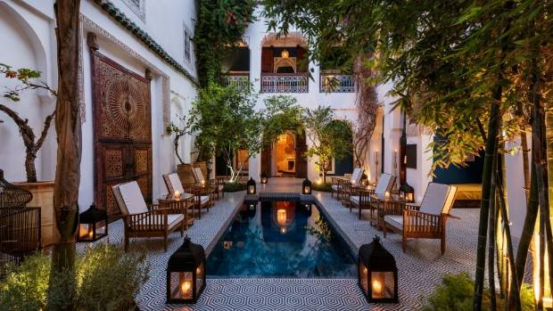 Riad Yeux Bleus in the evening.