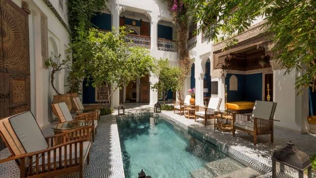 A pool view at Riad Yeux Bleus in Marrakesh.