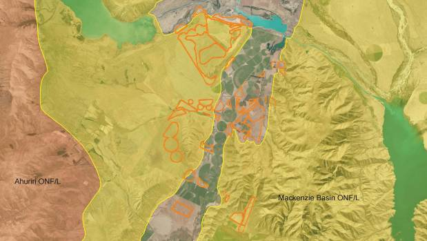 The orange outlined areas are proposed for irrigation. They overlap Outstanding Natural Features marked in yellow.