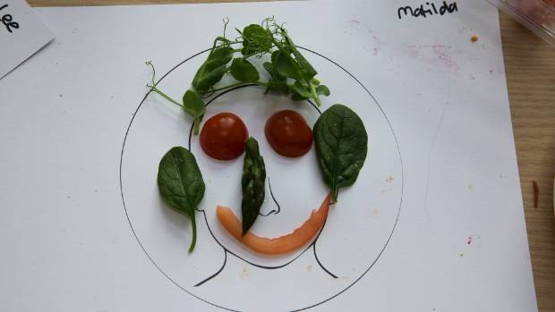 A vegetable face made by Matilda Russell, 4.