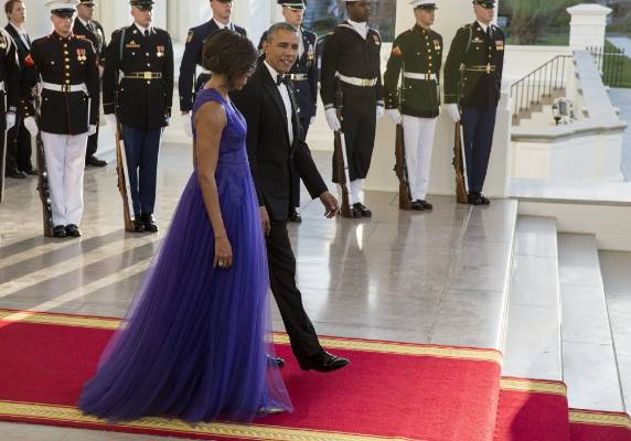 How beaut is that purple? It's by Tadashi Shoji, which makes sense because the Obamas were hosting Japanese Prime ...