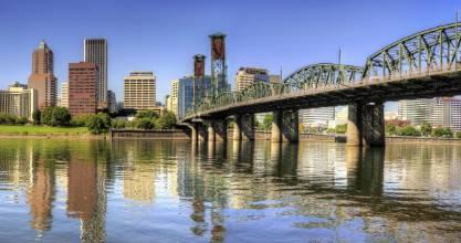 The Hawthorne Bridge and downtown Portland, Oregon.