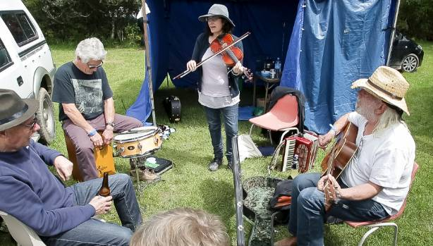 Getting ready for the show at the Wellington Folk Festival in Moore's Valley, Wainuiomata, on Sunday.