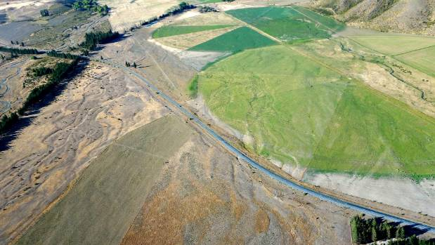 An aerial view of irrigation circles near Lake Benmore in the Mackenzie Basin.