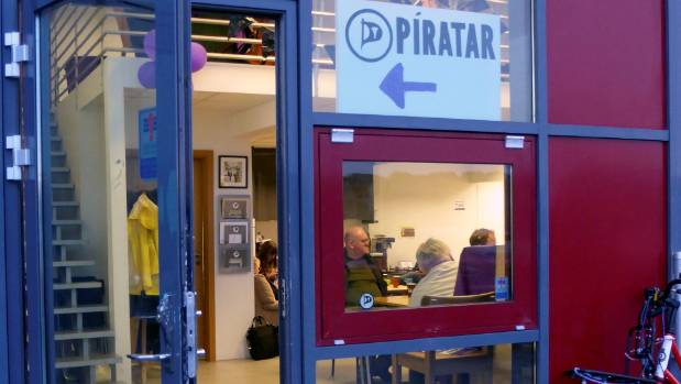 The entrance of the Icelandic Pirate Party headquarters in Reykjavik.