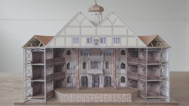 The new theatre will have an ornate stagefront, as shown in this scale model.