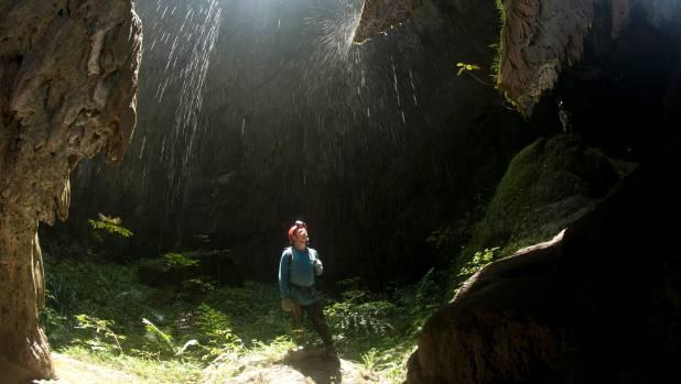 Cascading water in Hang Son Doong. Phong Nha Ke Bang National Park, Vietnam.