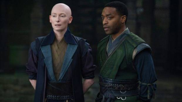 Marvel's Doctor Strange characters The Ancient One (Tilda Swinton) and Mordo (Chiwetel Ejiofor).