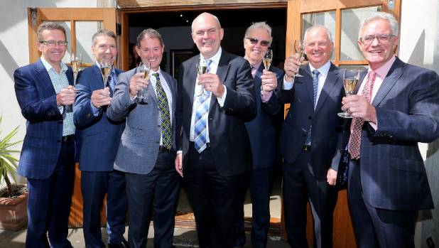 The celebrations at Nautilus Estate over the funding announcement for a new wine research institute, from left, New ...