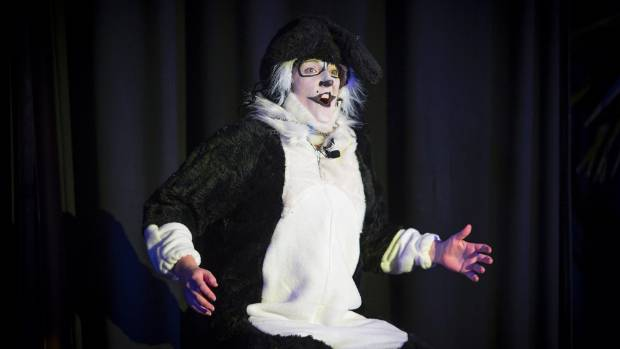 Joelle Dunlop brings Dog to life in Stratford on Stage's performance of Footrot Flats: the musical.