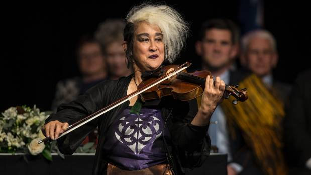 Violinist Elena entertains the crowd at Wellington City Council's inauguration ceremony at the Michael Fowler Centre