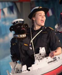 Olivia Hadlow stars in the navy's 75th anniversary pantomime Commander Claire and the Pirates of Provence.