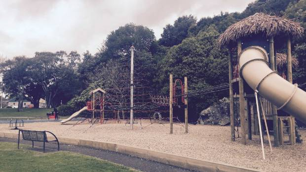 The new Mt Eden playground, equipped with a flying fox. Amanda likes to ride the flying fox after hiking to the ...