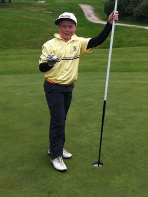 Paraparaumu Beach Golf Club 11-year-old Alec Prentice after hitting a hole-in-one at the Tauhara course in Taupo.