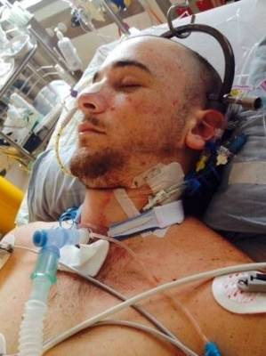 Jordan Harrington-Dingley after the crash in June 2016 that saw him thrown from the car he was travelling in.