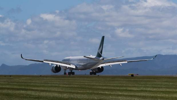 Cathay Pacific A350, world's newest airliner, lands in Auckland