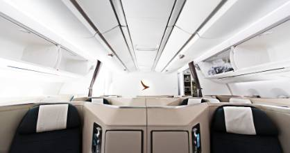 Both business and premium economy class seats on Cathay Pacific's A350 were designed by Porsche.