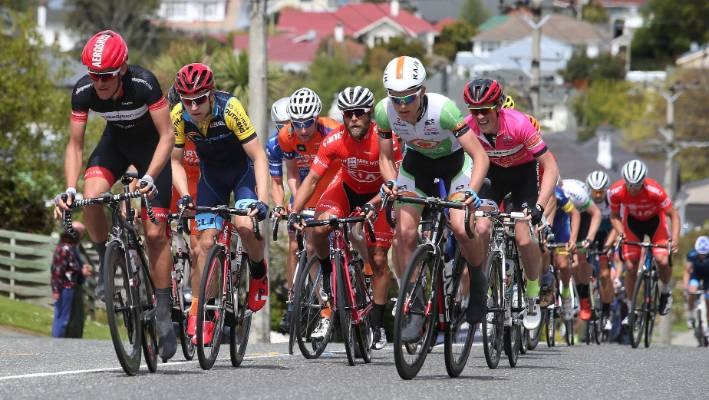 Cyclists tackle a hill climb in the 2015 Tour of Southland. 3992962c8