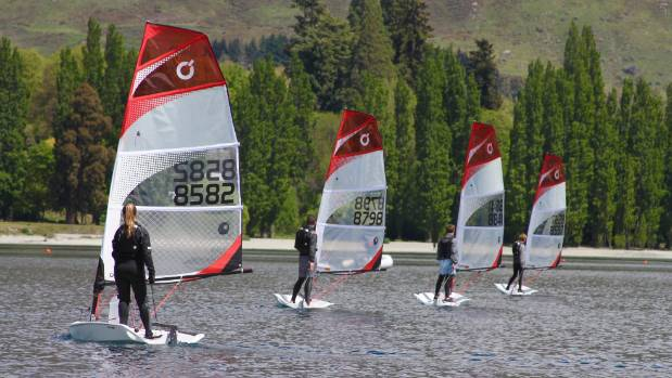 Young sailors test O'Pen Bic boats on Lake Wanaka.