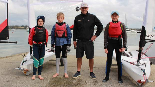 Sir Russell Coutts spent time in September teaching O'Pen Bic boat skills to these Kerikeri junior sailors.