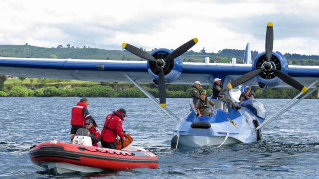 Coastguard Lake Taupo running a rescue exercise on Sunday with a PBY-5A Catalina amphibious aircraft - an aircraft used ...
