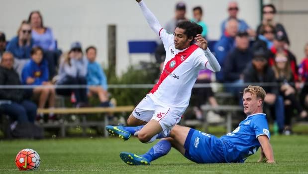 Hamilton Wanderers defender Johnny Konings brings down Waitakere United's Dylan Manickum in his side's 2-0 Premiership ...