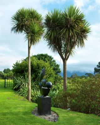 The water fountain is located between the tennis court and the harbour; the thriving cabbage trees were planted by the ...