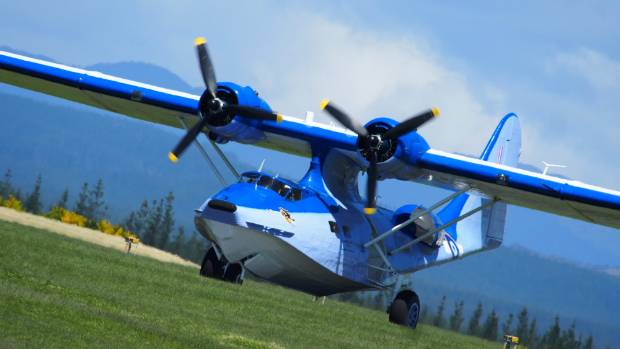 The New Zealand Catalina Preservation society lands their operational Catalina at Taupo Airport over the weekend.
