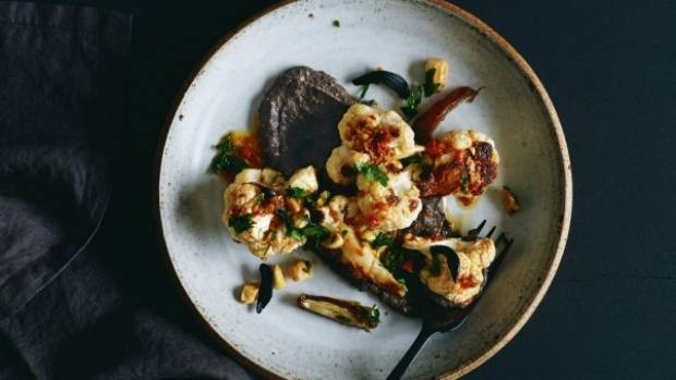 A Vegan Food Collection That will Knock Your Socks Off-Roasted cauliflower is the perfect foil for the unctuous black bean hummus.