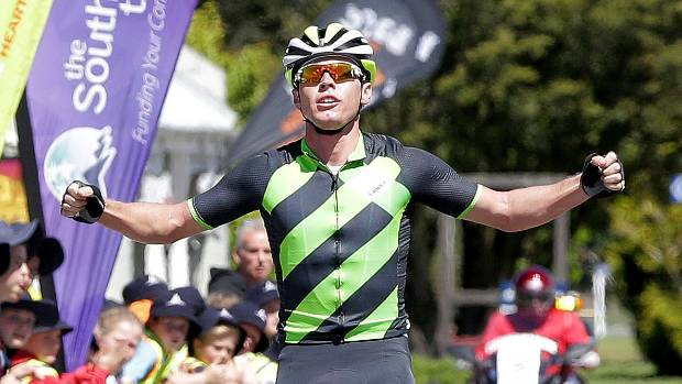 Ayden Toovey of Tineli Performance Bikewear won stage one of the Tour of Southland which was from Invercargill to Lumsden.