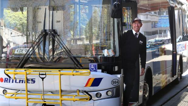 Ritchies bus driver Gerald Keats with the new $400,000 bus, introduced in October last year featuring new USB charging ...