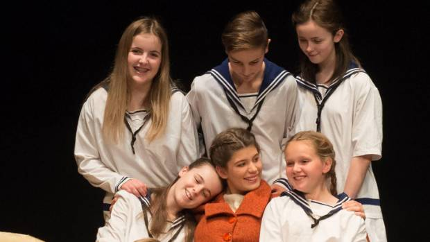 Maria (Madi Fulton Buckle) and the Von Trapp children, in Nelson Youth Theatre's production of The Sound of Music.