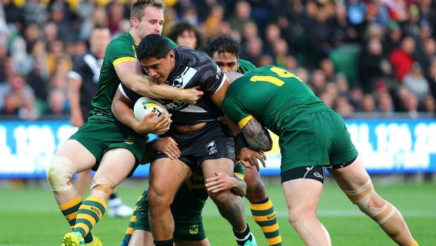 Barnstorming backrower Jason Taumalolo in action for the Kiwis.