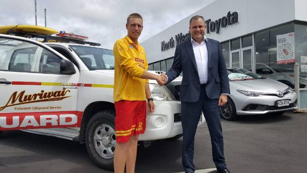 Head lifeguard Oliver Tyack, left, with North Western Toyota CEO Mark Jago in front of the Muriwai surf lifesaving ...
