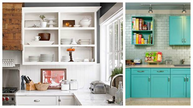 Along with painting the cabinets, consider removing the doors to create open shelving.