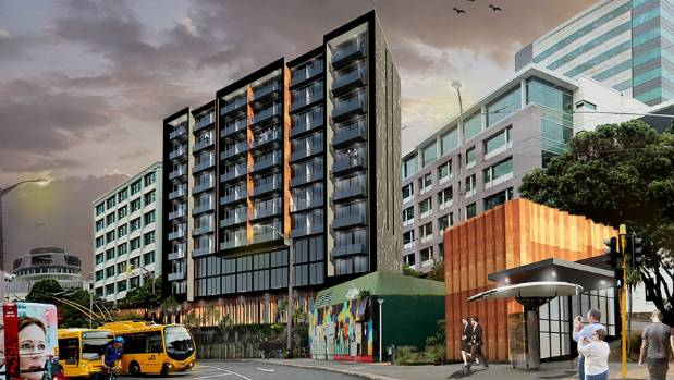 An artist's impression of the proposed apartment and hotel complex - Lambton on Waititi - seen from the bus terminal in ...