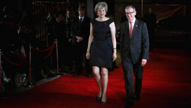 Britain's Prime Minister Theresa May and her husband Philip John May at the Pride Of Britain awards in London. May ...